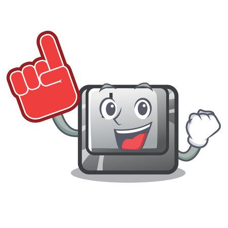 Foam finger button J in the mascot shape vector illustration