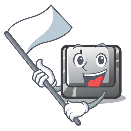 With flag button J in the mascot shape vector illustration