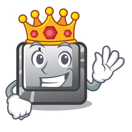 King button J in the mascot shape vector illustration Illusztráció