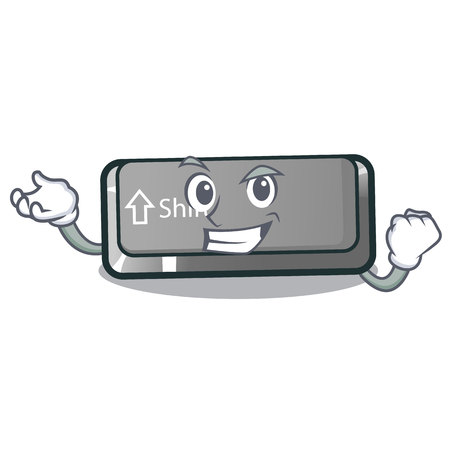Successful button shift on a keyboard mascot vector illustration