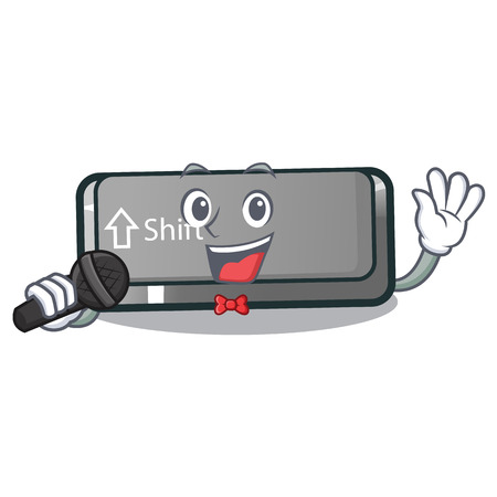 Singing button shift in the cartoon shape vector illustration