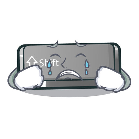 Crying button shift in the cartoon shape vector illustration