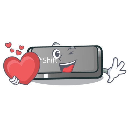 With heart button shift in the cartoon shape vector illustration Illustration