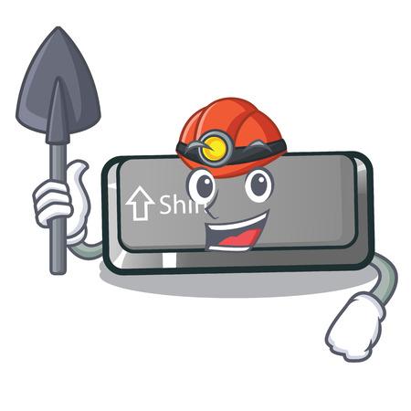 Miner button shift in the cartoon shape vector illustration