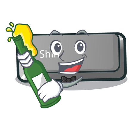 With beer shift button installed in cartoon game vector illustration