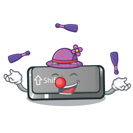 Juggling shift button installed in cartoon game vector illustration