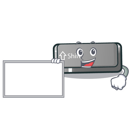 With board button shift isolated with the character vector illustration