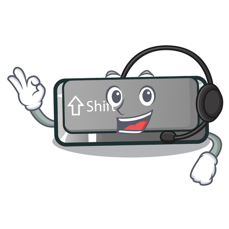 With headphone shift button installed in cartoon game vector illustration Stock Illustratie