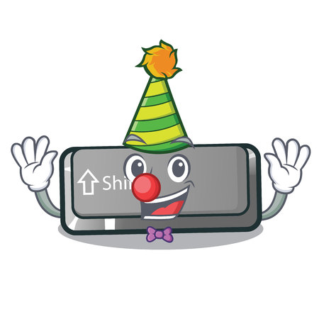 Clown shift button installed in cartoon game vector illustration