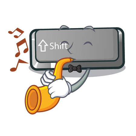 With trumpet button shift in the cartoon shape vector illustration