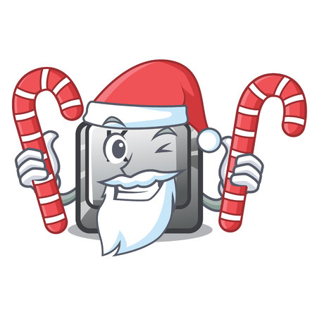 Santa with candy button K attached to cartoon keyboard vector illustration
