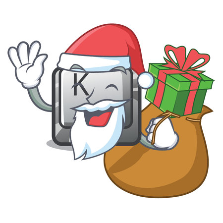 Santa with gift button K attached to cartoon keyboard vector illustration