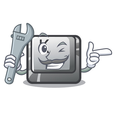 Mechanic button K attached to cartoon keyboard vector illustration