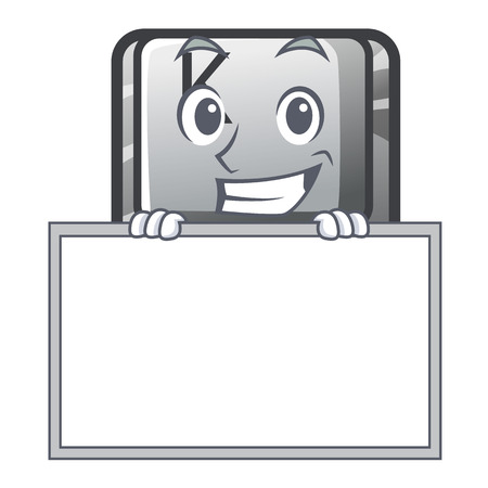 Grinning with board button K isolated with the mascot Stock Illustratie