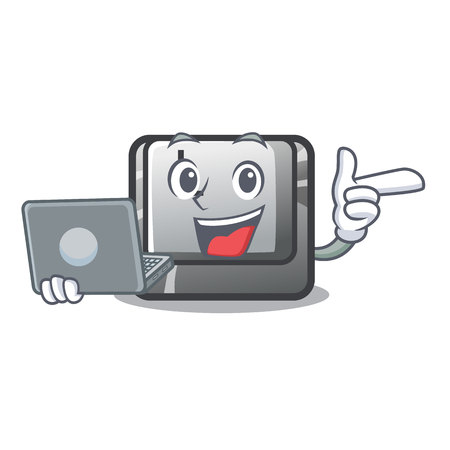 With laptop button K attached to character keyboard vector illustration