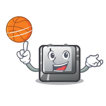 With basketball button K attached to character keyboard vector illustration