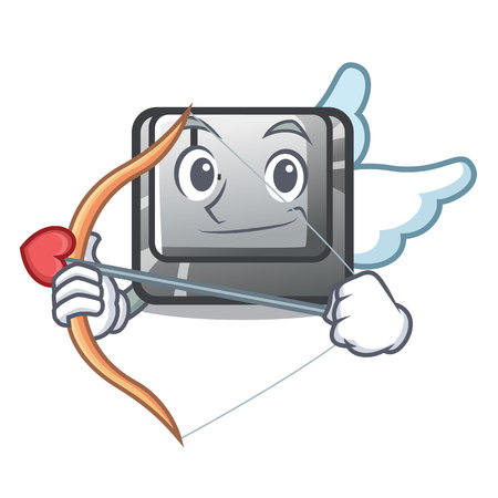Cupid button K attached to character keyboard vector illustration
