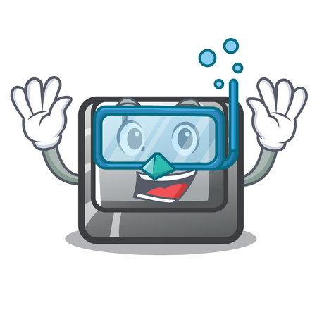 Diving button L in the mascot shape vector illustration