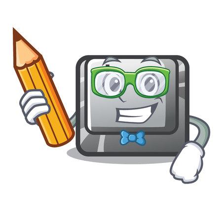Student button L in the mascot shape vector illustration Vektorové ilustrace