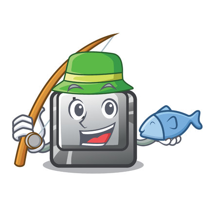 Fishing button L isolated in the cartoon vector illustration Illusztráció
