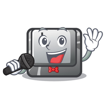Singing button L isolated in the cartoon vector illustration