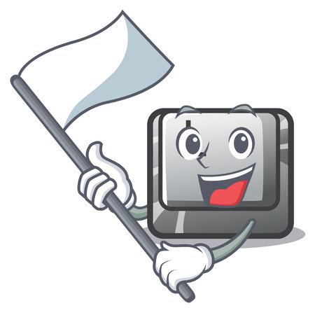 With flag button L on a game cartoon vector illustration Illusztráció