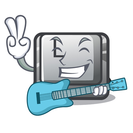 With guitar button L isolated in the cartoon vector illustration