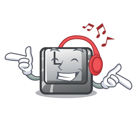 Listening music button L isolated in the cartoon vector illustration Ilustrace