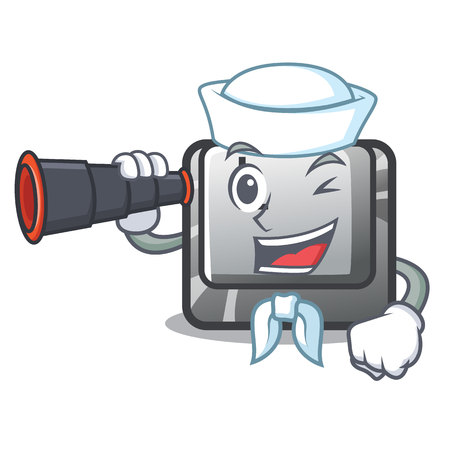 Sailor with binocular button L isolated in the cartoon vector illustration Illustration