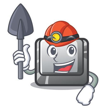 Miner button L isolated in the cartoon vector illustration Ilustração