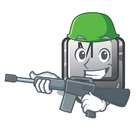 Army button M on a keyboard mascot vector illustration