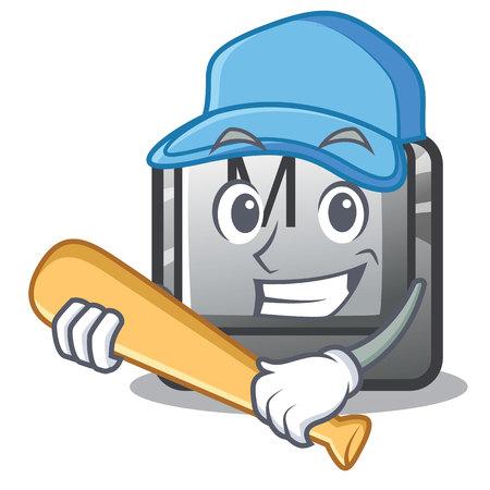 Playing baseball button M on a keyboard mascot vector illustration Illusztráció