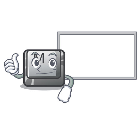 Thumbs up avec le bouton M sur une illustration vectorielle de clavier mascotte Vecteurs