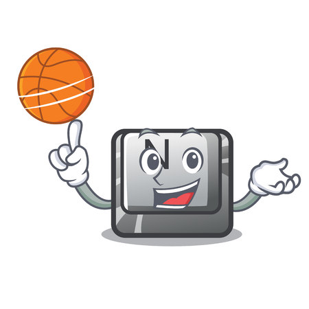 With basketball button N on a game character vector illustration
