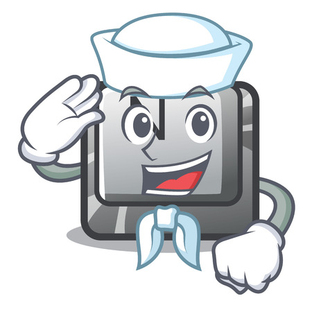 Sailor button N on a game character vector illustration