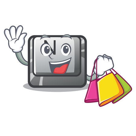 Shopping button N isolated with the cartoon vector illustration Vettoriali