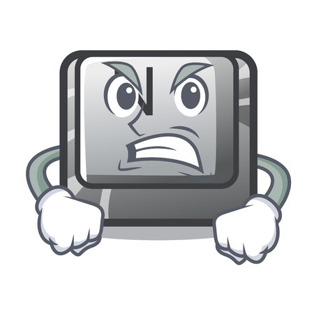 Angry N button attached to mascot keyboard vector illustration Illustration