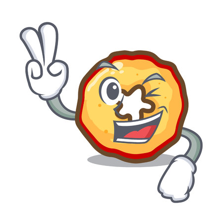 Two finger apple chips isolated with the mascot