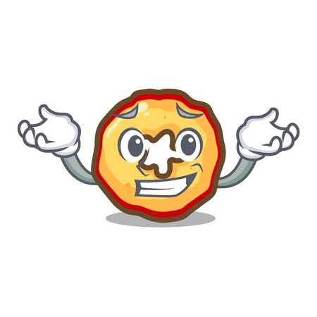 Grinning apple chips isolated with the mascot