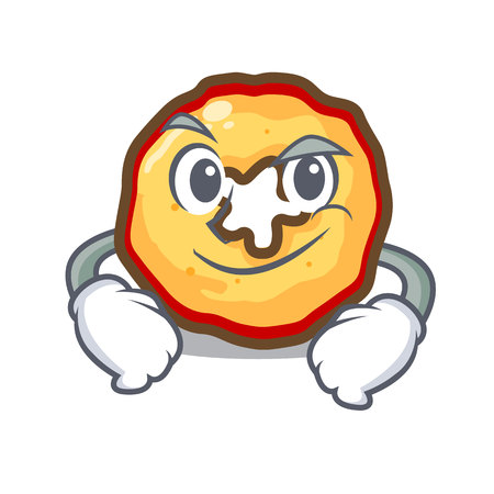Smirking apple chips isolated with the mascot Illustration