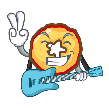 With guitar apple chips presented on character boards Stock Illustratie