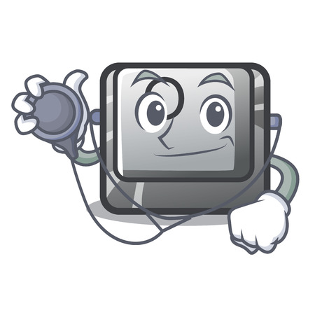 Doctor button O isolated in the cartoon vector illustration
