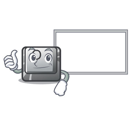 Thumbs up with board button O isolated in the cartoon vector illustration