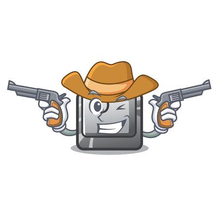 Cowboy button O isolated in the cartoon Ilustração