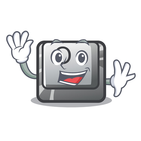 Waving button O on a game character vector illustration