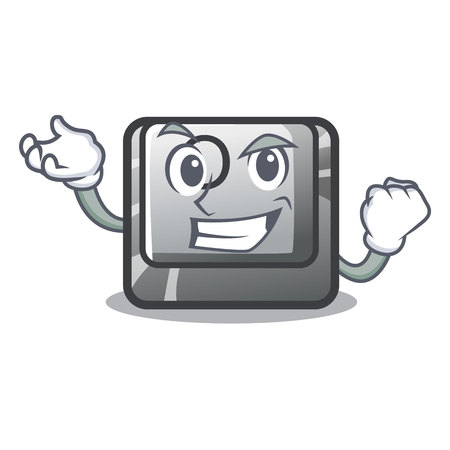 Successful button O on a game character vector illustration