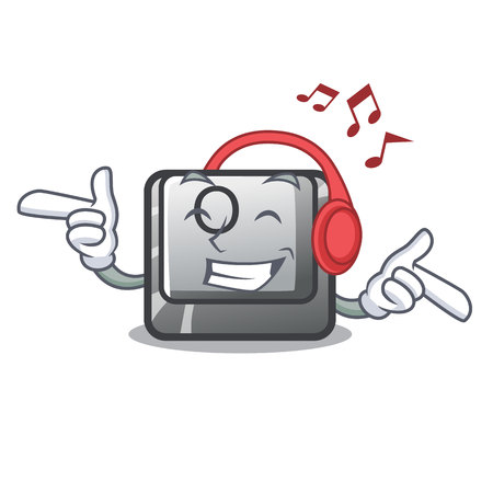 Listening music button O in the cartoon shape vector illustration
