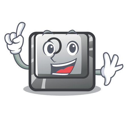 Finger O button installed on mascot computer vector illustration