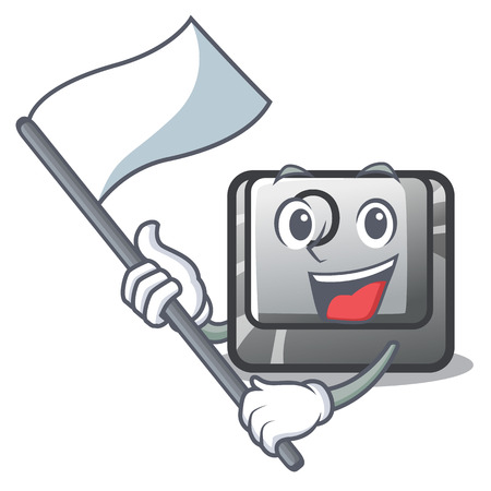 With flag O button installed on mascot computer vector illustration