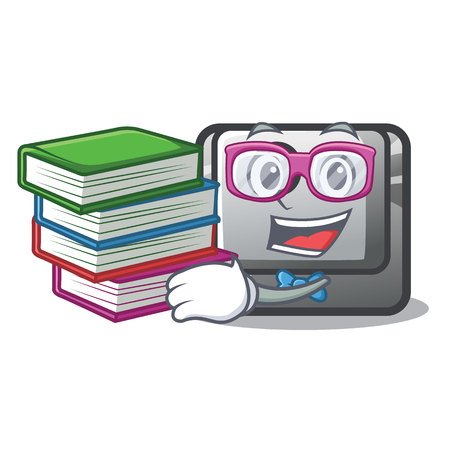 Student with book O button installed on mascot computer vector illustration Ilustracja